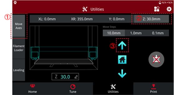 E2 3D Printer Utilities Screen