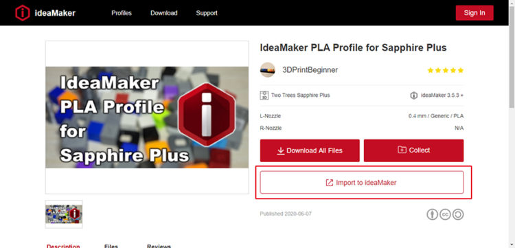 "Click ""Import to ideaMaker"" on the slicing profile detail page"