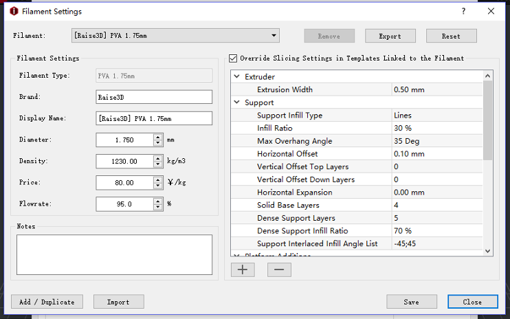 Override Slicing Settings in Templates Linked to the Filament is a default setting for Raise3D PVA
