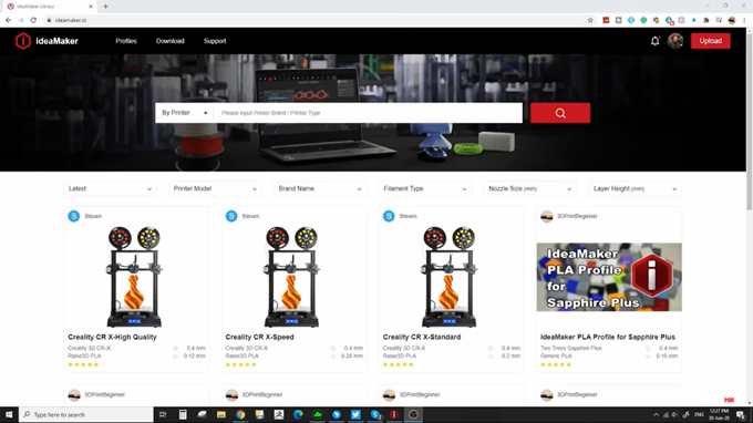 ideaMaker recently launched a filament profile library or printer profile library called ideaMakerio