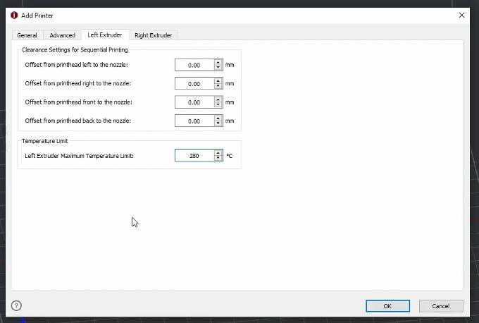 set the left extruder maximum temperate limit to 280℃