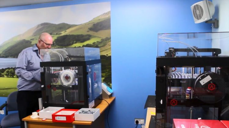 Graham Croston is printing components for screens by the Raise3D Pro2 Printer