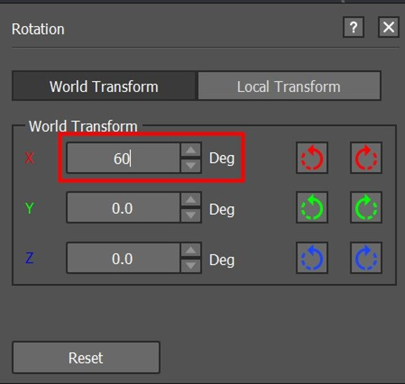 Enter the exact value in the input box to rotate the model