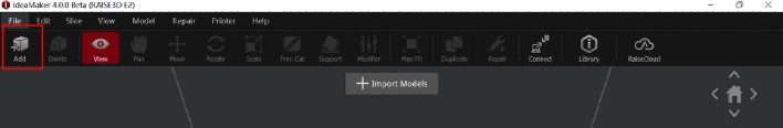 """Click the """"Add"""" icon on the Tool Bar to import the model"""