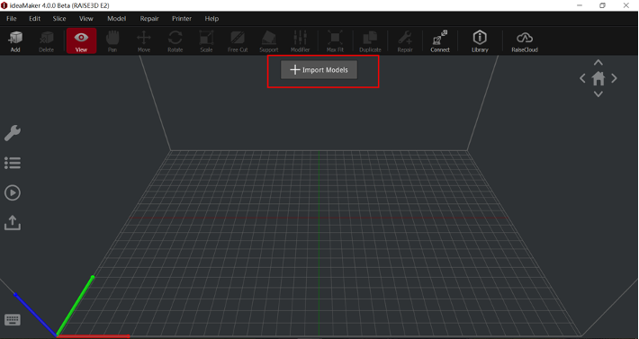 "Click the ""+"" button to import a model"