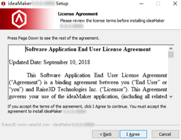 Read the installation license agreement