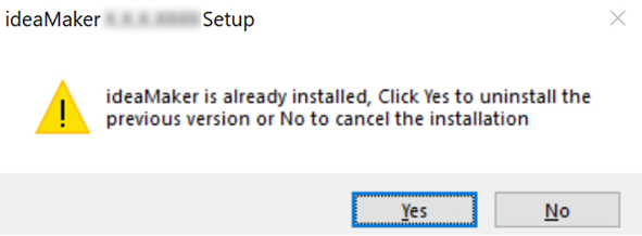 Uninstall the previous ideaMaker version
