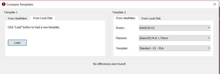 Compare the difference between the local template and the default template