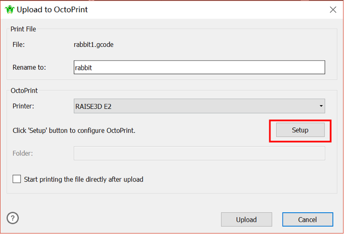 Figure 26 Configure your OctoPrint URL and API Key