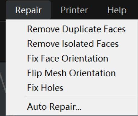"""The """"Repair"""" menu"""